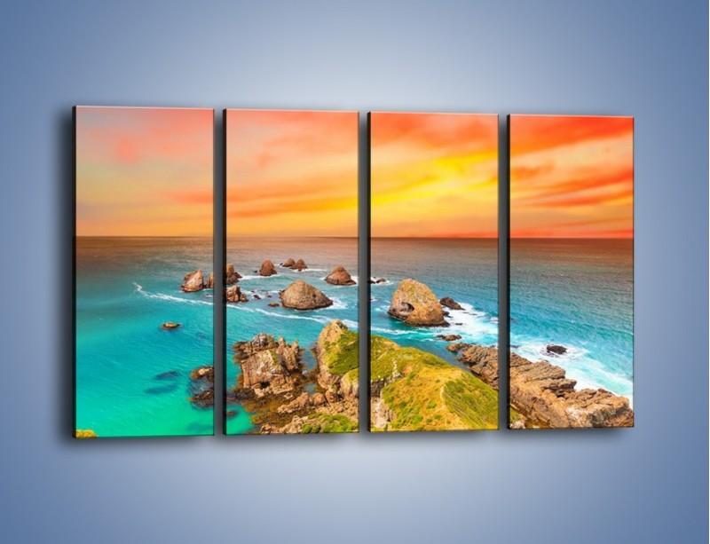 Obraz na płótnie – Kolory rozpalonego nieba nad wodą – czteroczęściowy KN879W1