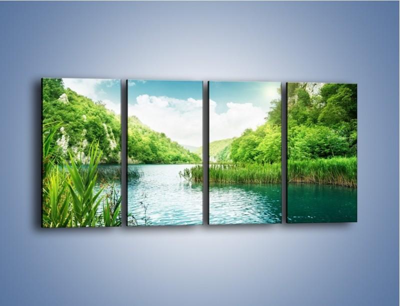 Obraz na płótnie – Wodnym śladem wśród zieleni – czteroczęściowy KN884W1