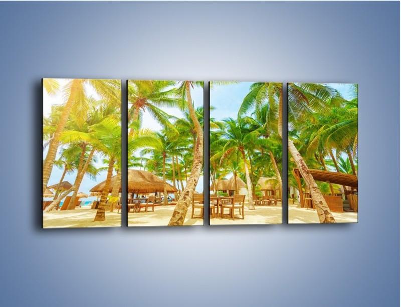Obraz na płótnie – Słoneczna sjesta pod palmami – czteroczęściowy KN886W1