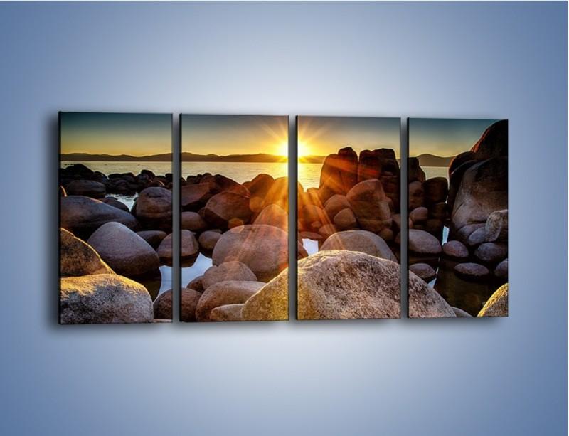Obraz na płótnie – Kamienna wyspa w słońcu – czteroczęściowy KN888W1