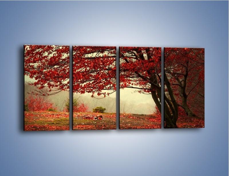 Obraz na płótnie – Spadające liście z drzew – czteroczęściowy KN910W1