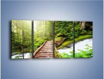 Obraz na płótnie – Bezpieczna droga przez las – czteroczęściowy KN922W1
