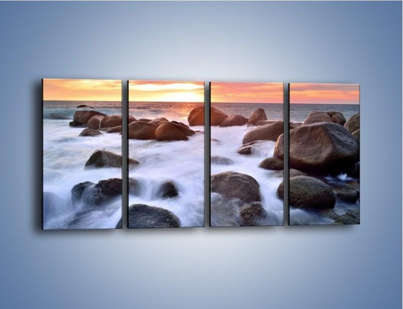 Obraz na płótnie – Kamienie zatopione w morzu – czteroczęściowy KN930W1