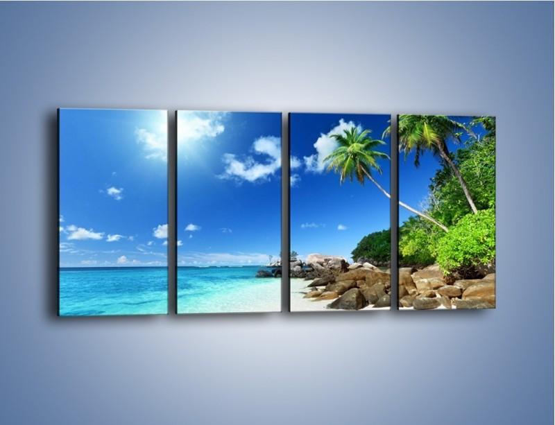 Obraz na płótnie – Rajska plaża i jej piękno – czteroczęściowy KN963W1