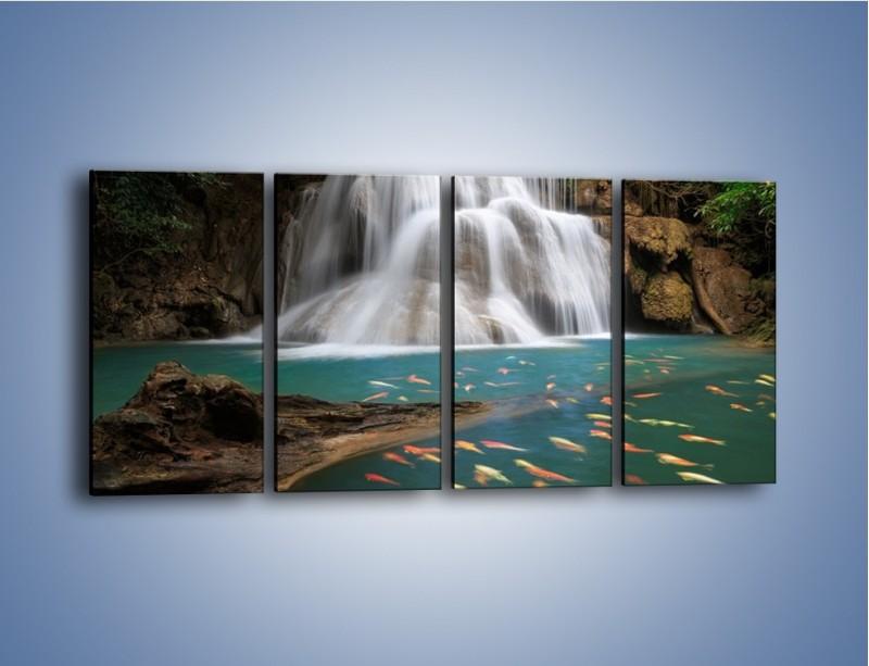 Obraz na płótnie – Wodospad i kolorowe rybki – czteroczęściowy KN994W1