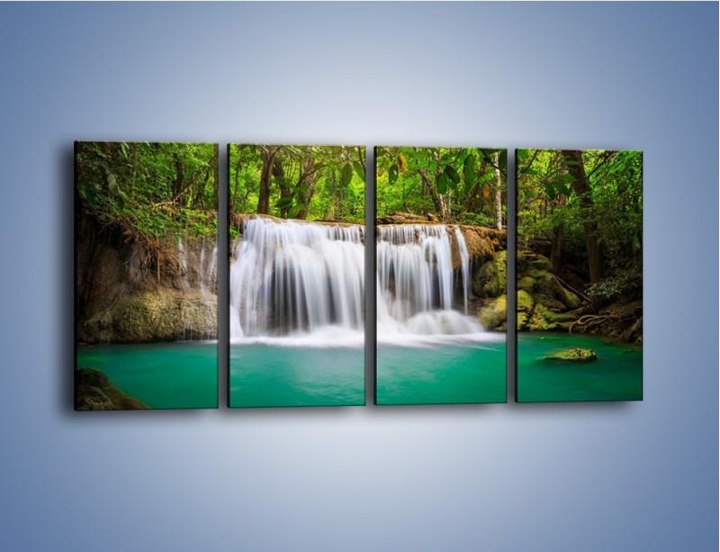 Obraz na płótnie – Kąpiel w środku lasu – czteroczęściowy KN995W1