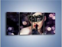 Obraz na płótnie – Dziewczyna w czarnej masce – czteroczęściowy L030W1