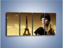 Obraz na płótnie – Czarna dama w paryżu – czteroczęściowy L114W1
