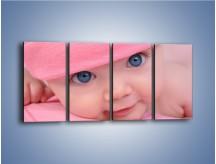 Obraz na płótnie – Bobas w różowej czapeczce – czteroczęściowy L256W1