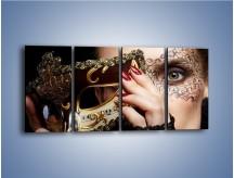 Obraz na płótnie – Koronka na kobiecej twarzy – czteroczęściowy L291W1