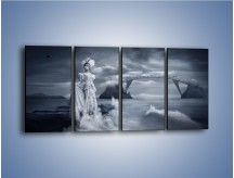 Obraz na płótnie – Dama w sepii – czteroczęściowy L292W1