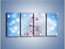 Obraz na płótnie – Biała dama i światełka – czteroczęściowy L318W1