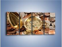Obraz na płótnie – Kompas zatopiony w monetach – czteroczęściowy O089W1