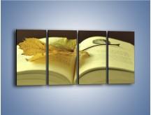 Obraz na płótnie – Liść na ciekawej powieści – czteroczęściowy O163W1