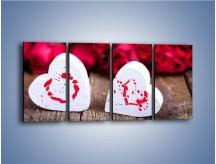 Obraz na płótnie – Dwa idealnie pasujące serca – czteroczęściowy O211W1