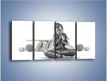 Obraz na płótnie – Budda wśród szarości – czteroczęściowy O220W1
