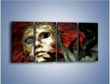 Obraz na płótnie – Maska pełna tajemnicy – czteroczęściowy O252W1