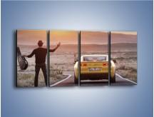Obraz na płótnie – Chevrolet Camaro na pustynnej drodze – czteroczęściowy TM080W1