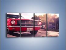 Obraz na płótnie – Czerwony Ford Mustang – czteroczęściowy TM087W1