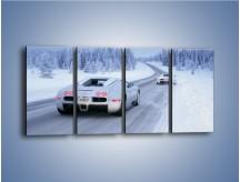 Obraz na płótnie – Bugatti Veyron w śniegu – czteroczęściowy TM134W1