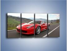 Obraz na płótnie – Czerwone Ferrari 458 Italia – czteroczęściowy TM194W1