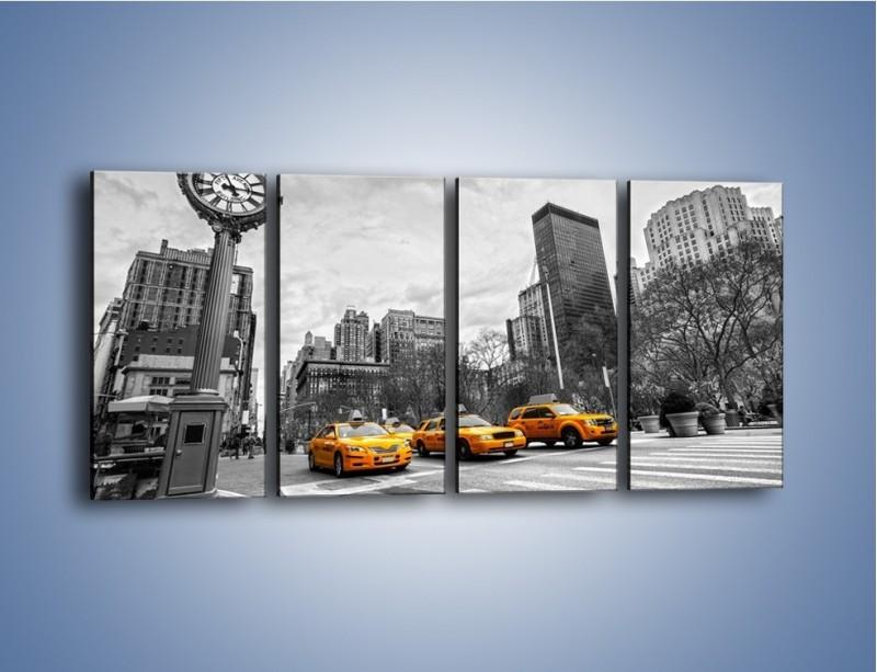 Obraz na płótnie – Żółte taksówki na szarym tle miasta – czteroczęściowy TM225W1