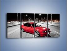 Obraz na płótnie – BMW 5 E34 na moście – czteroczęściowy TM227W1