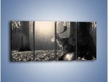 Obraz na płótnie – Jeleń w sepii – czteroczęściowy Z250W1