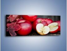 Obraz na płótnie – Czerwone jabłka późną jesienią – jednoczęściowy panoramiczny JN619