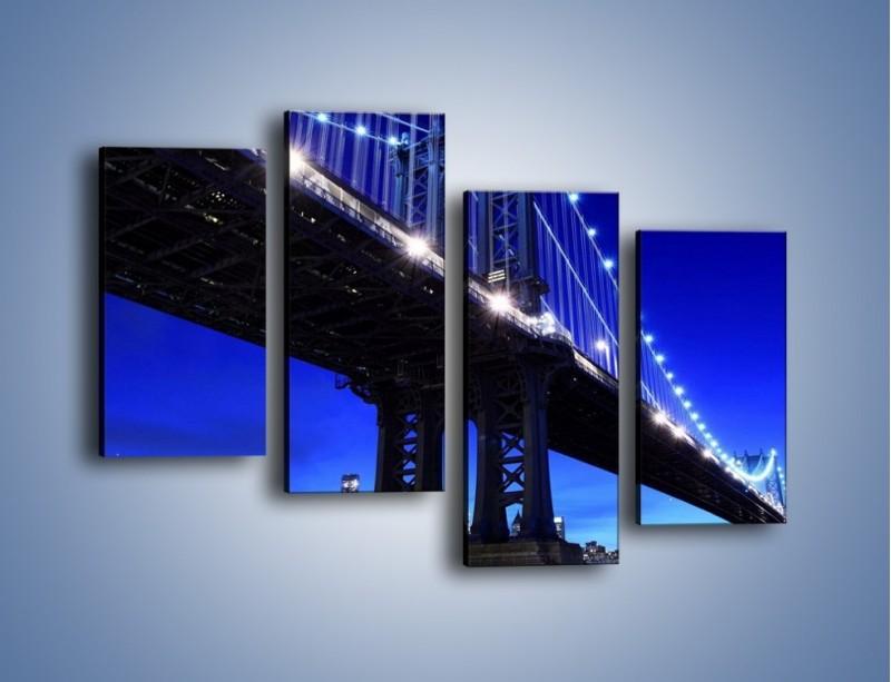 Obraz na płótnie – Oświetlony most wieczorem – czteroczęściowy AM003W2