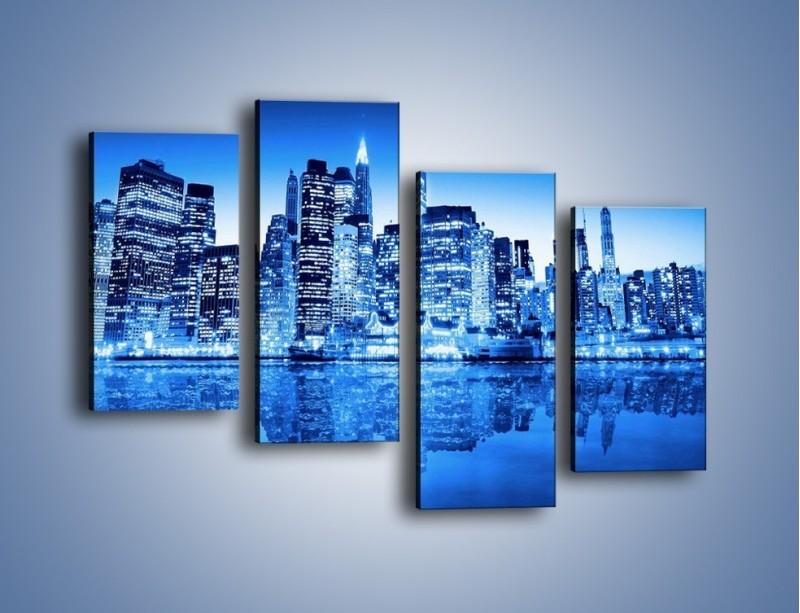 Obraz na płótnie – Odbicie miasta w tafli wody – czteroczęściowy AM004W2
