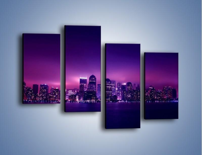 Obraz na płótnie – Wieżowce w odcieniach fioletu – czteroczęściowy AM008W2