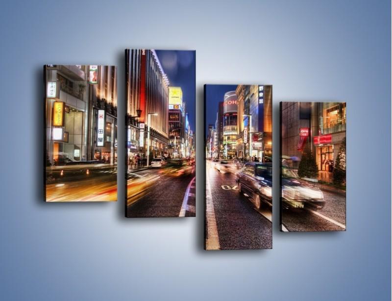 Obraz na płótnie – Tokyo w ruchu – czteroczęściowy AM015W2