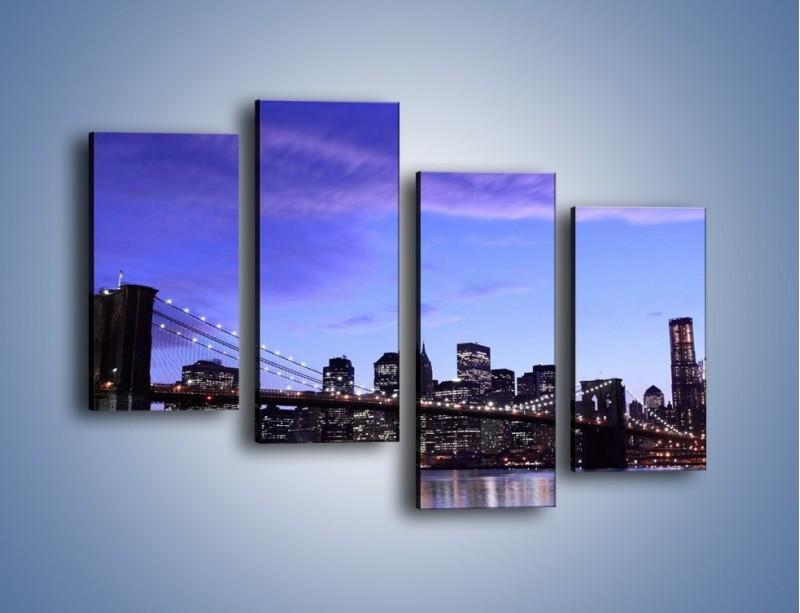 Obraz na płótnie – Most Brookliński przed zmierzchem – czteroczęściowy AM016W2