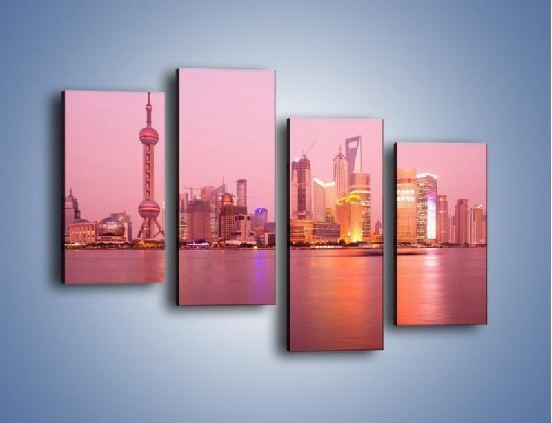 Obraz na płótnie – Miasto o poranku w odcieniach różu – czteroczęściowy AM020W2
