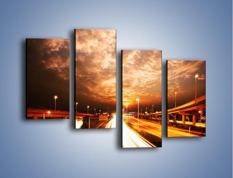 Obraz na płótnie – Oświetlona autostrada w ruchu – czteroczęściowy AM021W2