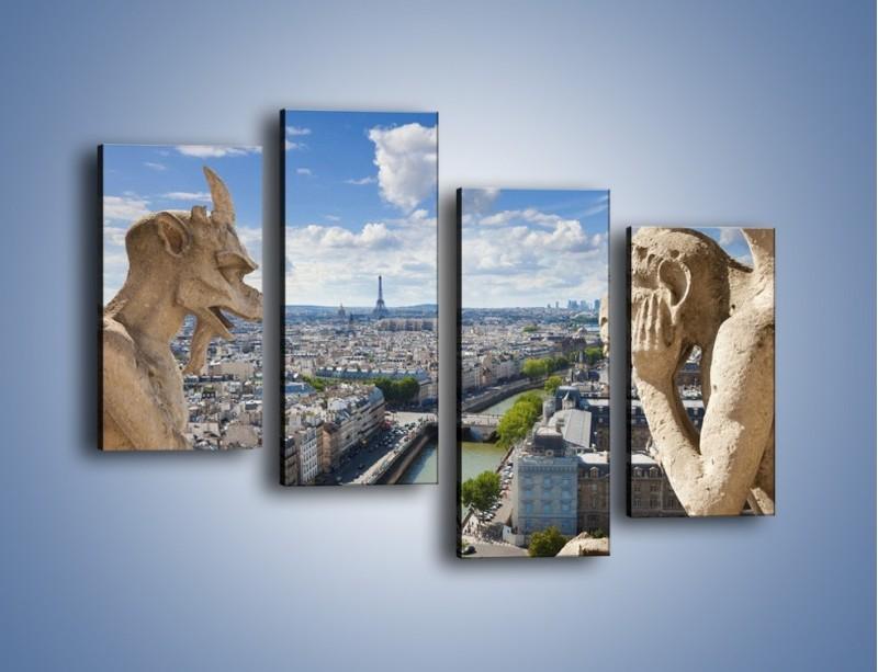 Obraz na płótnie – Kamienne gargulce nad Paryżem – czteroczęściowy AM037W2