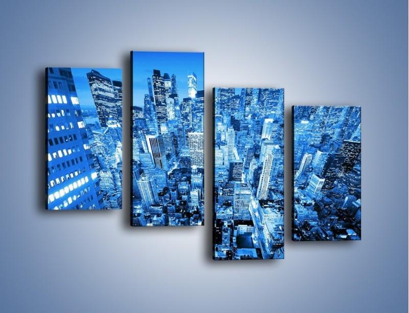Obraz na płótnie – Centrum miasta w niebieskich kolorach – czteroczęściowy AM042W2