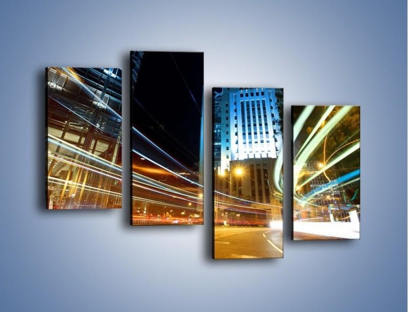 Obraz na płótnie – Światła w ruchu ulicznym – czteroczęściowy AM048W2