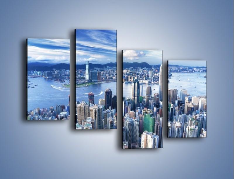 Obraz na płótnie – Miasto portowe o poranku – czteroczęściowy AM050W2