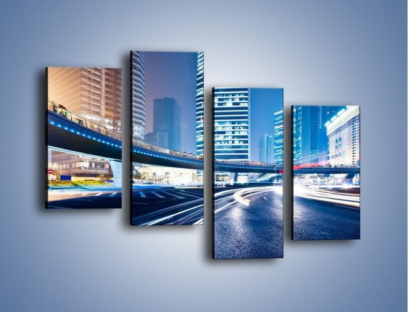 Obraz na płótnie – Wieczorny ruch uliczny w centrum miasta – czteroczęściowy AM051W2
