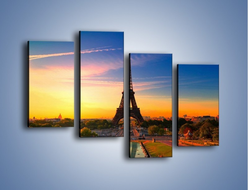 Obraz na płótnie – Wieża Eiffla o zachodzie słońca – czteroczęściowy AM052W2