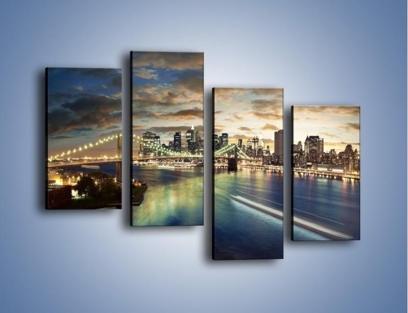 Obraz na płótnie – Oświetlony most w Nowym Jorku – czteroczęściowy AM066W2