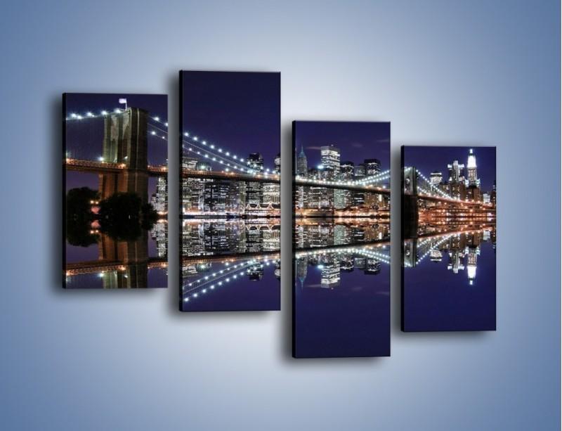 Obraz na płótnie – Most Brookliński w lustrzanym odbiciu wody – czteroczęściowy AM067W2