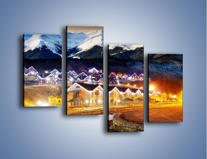 Obraz na płótnie – Oświetlone domki pod górami – czteroczęściowy AM070W2