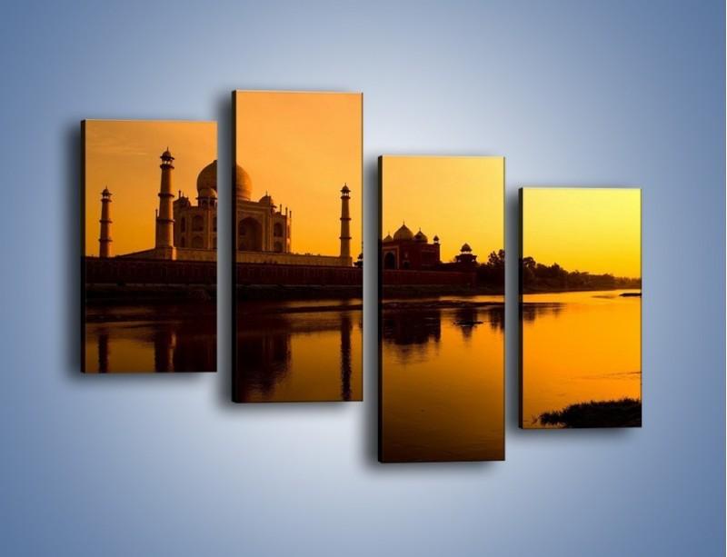 Obraz na płótnie – Taj Mahal o zachodzie słońca – czteroczęściowy AM075W2