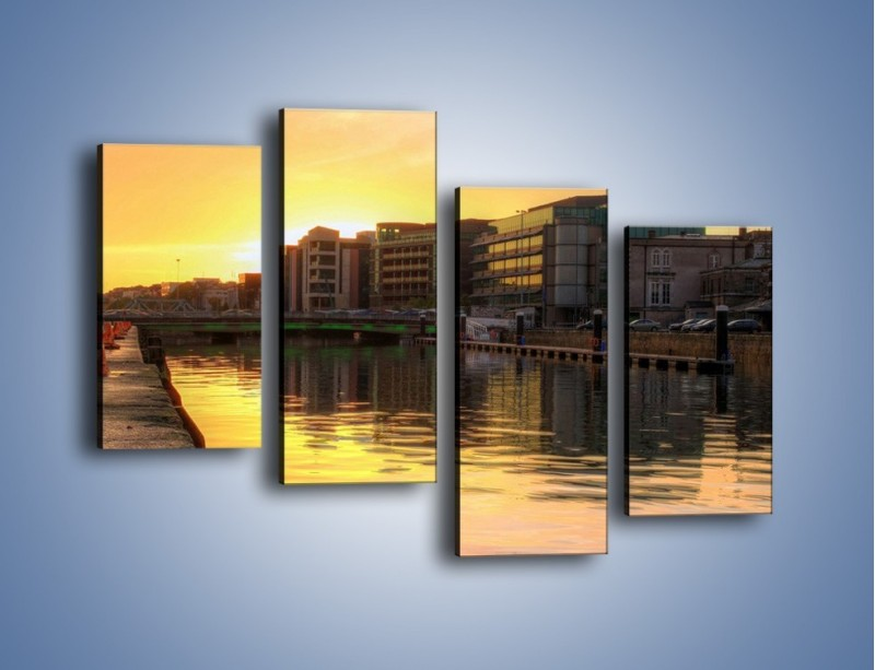 Obraz na płótnie – Kanał portowy o wschodzie słońca – czteroczęściowy AM079W2