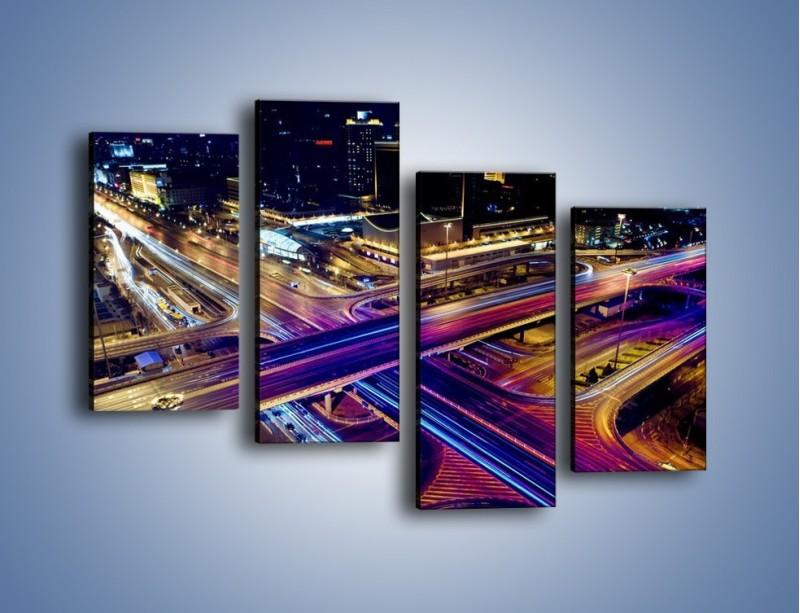 Obraz na płótnie – Skrzyżowanie autostrad nocą w ruchu – czteroczęściowy AM087W2