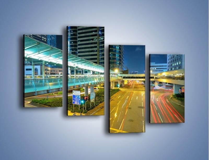 Obraz na płótnie – Droga na lotnisko w Japonii – czteroczęściowy AM088W2