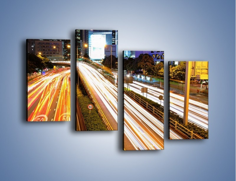 Obraz na płótnie – Ulice w ruchu w mieście – czteroczęściowy AM089W2